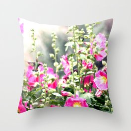 Chuparosa checking out all the Pink Pink Hollyhocks by CheyAnne Sexton Throw Pillow