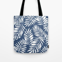 Tropical Palm Leaves - Navy Blue Tote Bag