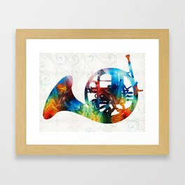 Colorful French Horn - Color Fusion By Sharon Cummings Framed Art Print