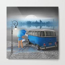 Blue rainy night Metal Print