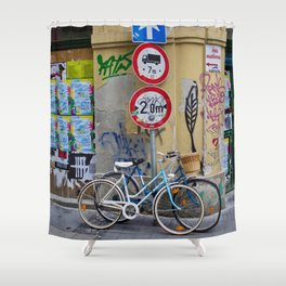 Bicycles and Street Art in Budapest's Old Jewish Ghetto Shower Curtain