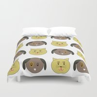kit king Duvet Covers featuring kit & pup by carolinegeys
