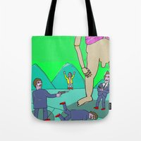 tom selleck Tote Bags featuring Selleck Sabotage by Mary Naylor