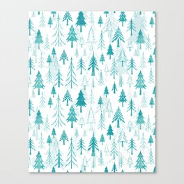 Christmas tree forest on white Canvas Print
