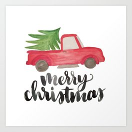 Merry Christmas Vintage Truck with Tree Art Print