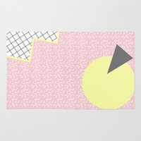 memphis Area & Throw Rugs featuring MEMPHIS PINK by Rocío Olmo