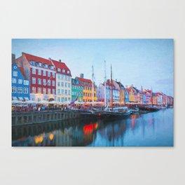 The Quay at Nyhavn, Copenhagen, Denmark Canvas Print