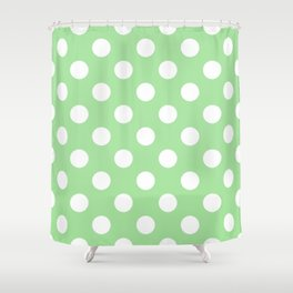 Granny Smith apple - green - White Polka Dots - Pois Pattern Shower Curtain