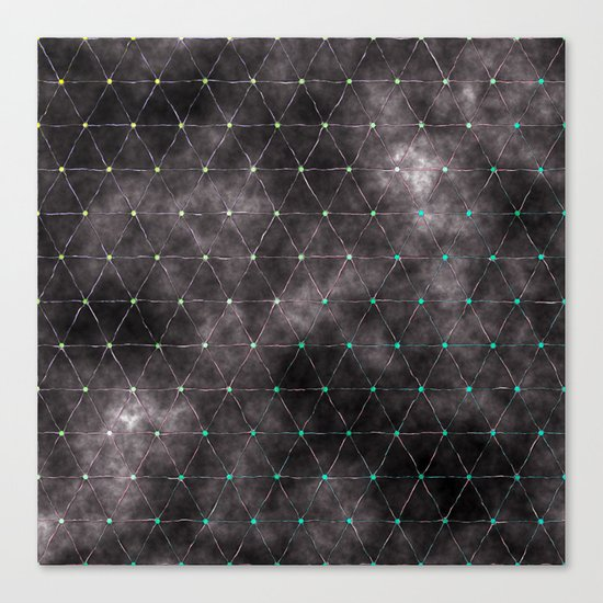 Galaxy - modern abstract dark grunge triangles pattern Canvas Print