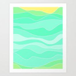 Ocean sunrise, waves in blue and green print  Art Print