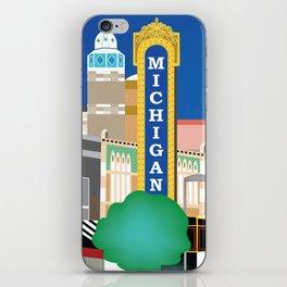 Ann Arbor, Michigan - Skyline Illustration by Loose Petals iPhone Skin