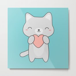 Kawaii Cute Cat With Heart Metal Print