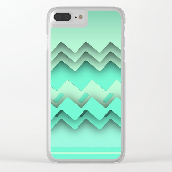 Mint paper zigzag Clear iPhone Case