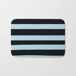 VA Healing Aire Blue - Angelic Blue - Soothing Blue Hand Drawn Fat Horizontal Lines on Black Bath Mat