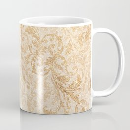 Elegant vintage faux gold glitter antique floral damask Coffee Mug
