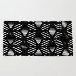 Geometric Line Lines Diamond Shape Tribal Ethnic Pattern Simple Simplistic Minimal Black and White Beach Towel