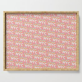 NYC, New York, USA Trendy Rainbow Text Pattern (Pink) Serving Tray