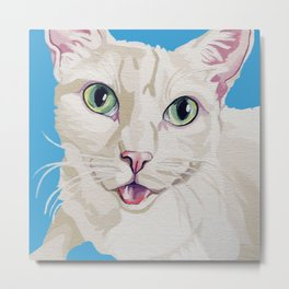 A Portrait of Jack the White Kitty Cat  Metal Print