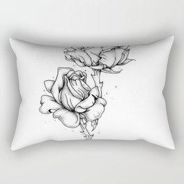Dotwork Roses Rectangular Pillow