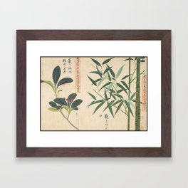 Japanese Botanical Ink and Brush Painting, Hand Drawing Flowers and Calligraphy Framed Art Print