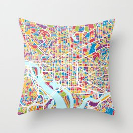 Washington DC Street Map Throw Pillow
