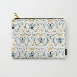 Queen Bee with Gold Crown and Laurel Frame Carry-All Pouch