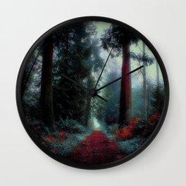 Redwood Fog Surreal Forest Wall Clock