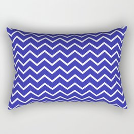 Zigzagged (White & Navy Pattern) Rectangular Pillow