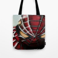spider man Tote Bags featuring Spider-Man by Inspirations