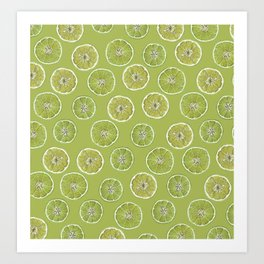 Lime Oranges Pattern Art Print