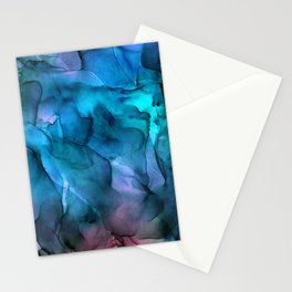 Abstract Ink Blue Turquoise Pink Marble Stationery Cards