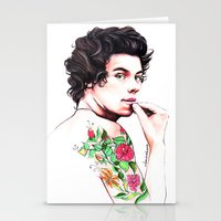 harry styles Stationery Cards featuring Harry Styles by dariemkova