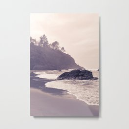 Hazy Washington Coastal Landscape Seascape Mist Beach Ocean Surf Northwest PNW Wanderlust Scenic Art Metal Print