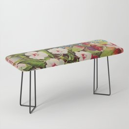 Vintage Flowers Advertisement Collage Bench