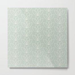Geometric lotus flower pattern off white on pastel green Metal Print