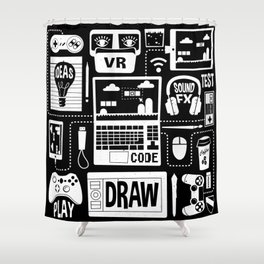 It's a Game Dev World Shower Curtain
