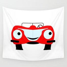 Cartoon Red Car Wall Tapestry