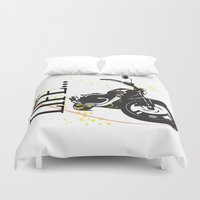 motorcycle Duvet Covers featuring Motorcycle lifestyle  by Ezgi Kaya