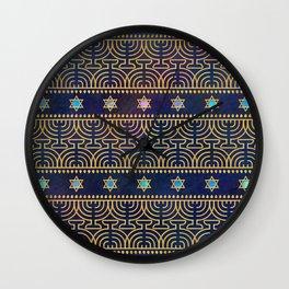Hanukkah Menorah Pattern Wall Clock