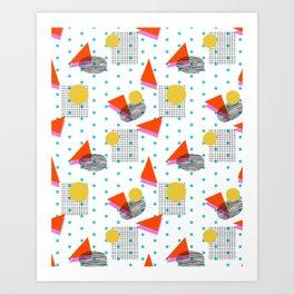 Bounce - abstract minimal retro throwback 1980s grid circle shapes memphis design pattern print art Art Print