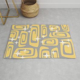 Mid Century Modern Cosmic Galaxies 434 Yellow and Gray Rug