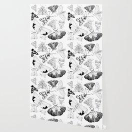 Moth Pattern Black and White Wallpaper