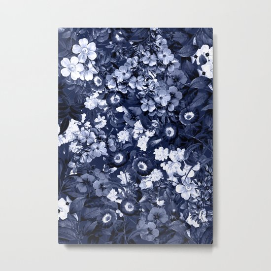 Bohemian Floral Nights in Navy Metal Print