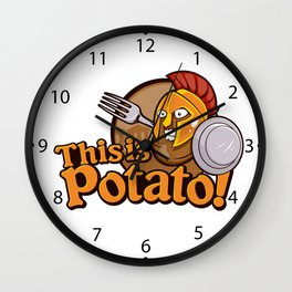Potato Spartan Warrior Cartoon Wall Clock