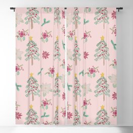 Christmas Pattern Pink Blackout Curtain