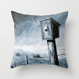 Little Birdhouse on the Prairie Throw Pillow