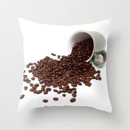 Rich brown coffee beans spilled from a mug Throw Pillow