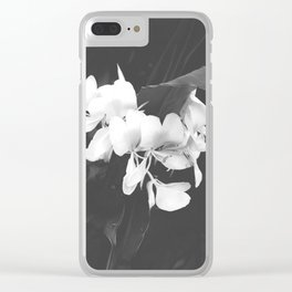 Hedychium Coronarium White Ginger Lily Black and White Photography Clear iPhone Case