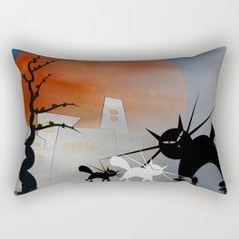 mooncats and their city Rectangular Pillow