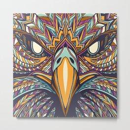 Aztec Eagle Face Metal Print